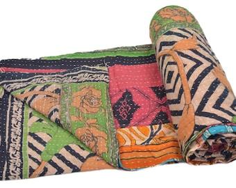 Vintage Kantha Quilt Gudri Reversible Throw Ralli Bedspread Bedding India OG1069