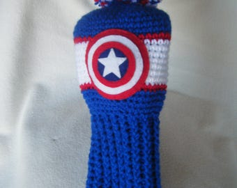 Crocheted Captain America Driver Head Cover - Pick the Color Combo You Want, Father's Day Gift, Made to Order
