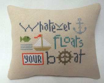 Sailboat Cross Stitch Nautical Mini Pillow Whatever Floats Your Boat Shelf Pillow