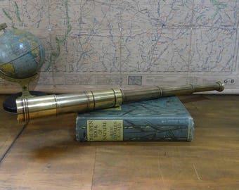 Antique Pocket Brass Telescope,  Vintage 3 Drawer Spyglass, c 1900's