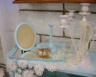 Vintage Vanity Set 3 Piece Turquoise Aqua Romantic French Country