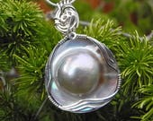 Large Round Mabe Pearl Pendant, Blister Pearl Necklace, Wedding Jewelry, Silver Gray Pearl 16 mm, South Sea, Wire Wrapped Sterling Silver