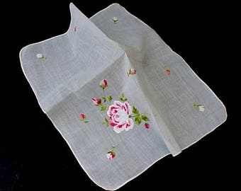 Pretty Vintage Handkerchief with Embroidered Rose and Rosebuds in Pretty Pinks and White