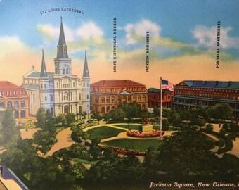 Handsome Vintage New Orleans Postcard-Jackson Square