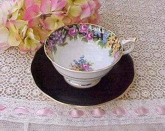 Lovely Mismatched English Porcelain Teacup and Saucer in Black and Pinks