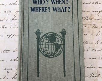 """Charming Little 1925 Book: """"Who? When? Where? What?"""""""