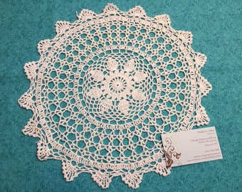 Vintage 13 inch White hand crochet doily for sewing, housewares, handbags, pillows, home decor by MarlenesAttic