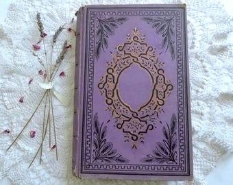 Wedding Guest Book, Unique Photo Scrapbook, Instant Photo Guestbook, Vintage Boho Journal, Lavender French Antique Book
