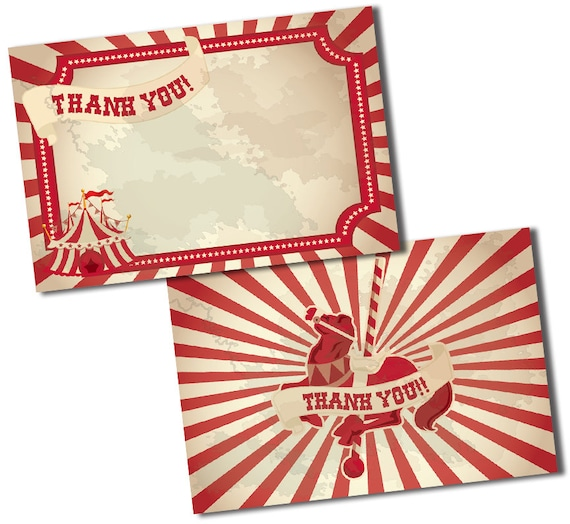 Circus Thank You Cards Carnival Thank You Notes Circus Or Carnival