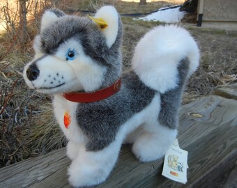 Large Steiff Husky Dog All IDs Mint Condition Alaskan Canine Collectible Toy 28cm