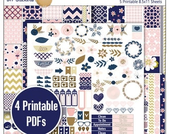 Navy Pink Planner Kit!  Printable Stickers / 5 Pdf Clip Art, Washi, HP & EC Boxes, 180 Icons/ Blue Gold