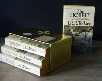 J.R.R. Tolkien book set with gold slipcase. 1978 edition. paperback books.
