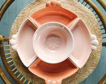 Vintage Blush color California pottery Lazy Susan appetizer/snack tray / J-31
