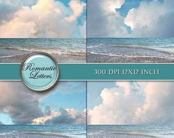 Sale 60% Sea beach digital photo backdrop ocean digital background beach wedding photography digital photoshop background sky clouds backdro