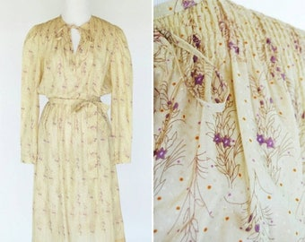 SUMMER SALE Vintage 70's Beige Purple Floral Prairie Secretary Dress -  Light Semi Sheer dress - Sweet Floral Smocked Mori Girl Dress - size