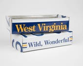 Office desk or garage Storage Metal West Virginia license plate box organizer tool gift idea for Dad or Grandpa or Papa or Brother or Son
