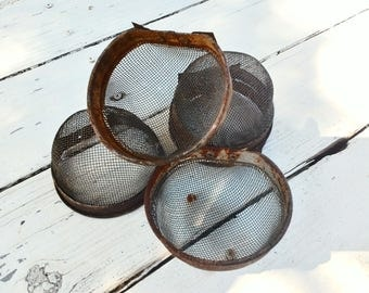 One Chick / Chicken Feeder ~ Round Screened Feed \ Crumble Holder ~ Rustic Farmhouse ~ Chicken Coop Supply ~ Photo Prop ~ Metal & Screen