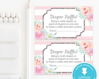 Pink & Silver Baby Shower Diaper Raffle Ticket - Silver Glitter Baby Shower - Printable - Girl Baby Shower Printable - Instant Download