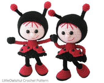 146 Crochet Pattern - Girl doll in a Ladybug outfit - Amigurumi PDF file by Stelmakhova Etsy