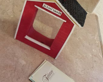 Vintage  Red school house  picture frame for small picture.