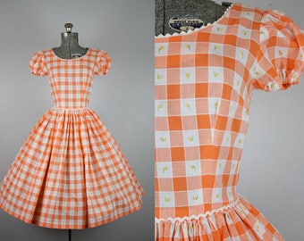 1950's Orange Plaid Day Dress with Puffed Sleeves / Size Small