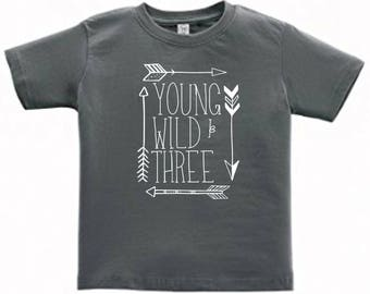 Young, Wild & THREE personalized t-shirt * Asphalt