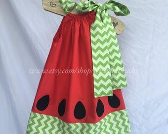 Red Watermelon Pillowcase Dress, Watermelon Toddler Dress, Summer Dress, Beach Dress, Watermelon Outfit, Watermelon Dress, Baby Dress, Girl