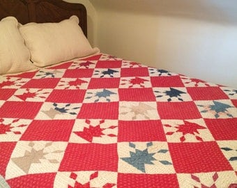 Antique Turn of the Century Quilt / Red, White and Blue Quilt / Handmade Quilt / Homemade Quilt / Old Quilt / Vintage Quilt