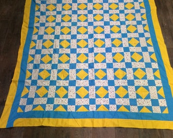 Vintage Quilt Top / Blue and Yellow Quilt Top / Pink Floral Quilt Top / Handmade Quilt Top / Homemade Quilt Top / Yellow and Blue Quilt Top