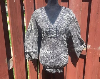 Back to School Sale Vintage Plus Size Leopard Print Top / Sheer Polyester Black and White Blouse Size 2X