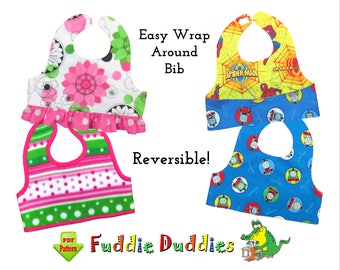 Reversible wrap-around Baby Bib Pattern. Baby Girls Ruffle Bib Pattern, Baby Sewing Pattern. PDF INSTANT DOWNLOAD, Baby Shower Gift. Oliver