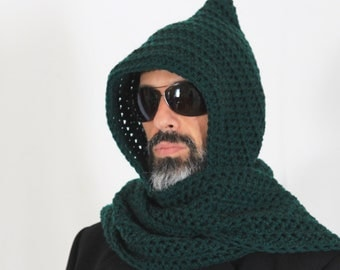 Mens long hooded scarf, open ends hood scarf, green hooded scarf, mens scoodie, Calypso Long