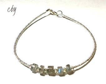 Minimalist Beaded Labradorite Gemstone Heishi Beaded Bracelet with Sterling silver Seed Beads and Swarovski Crystals Gift for her Jewelry