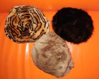 Vintage Fur Hat Lot of 3 Unfinished Women's Fur Hats Unlined Mouton Lamb Goat Mink Leopard Print
