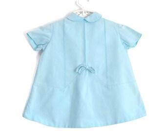 Baby Dress, Vintage Baby Dress, Vintage Baby Clothes, Blue Baby Dress, Spring Baby Dress, Toddler Dress