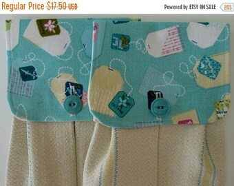 CIJSALE Hanging Kitchen Towel Set-  Tea Bag Print Fabric Turquoise Creamy Yellow White Natural Cotton Woven Towels Button Closure