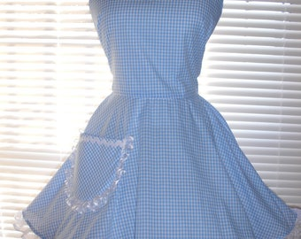 PLUS SIZE Sexy Retro Inspired Costume Apron Blue and White Gingham