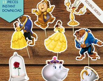 Beauty and the Beast Cupcake Toppers, Beauty and the Beast Cake Toppers, Centerpiece, Princess Belle Cupake Toppers, Cake Pops, Party Decor