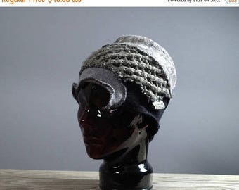ON SALE Upcycled Wool Hat - Women's Hat - Fall Hat - Gray Hat - Recycled Hat - One of a kind