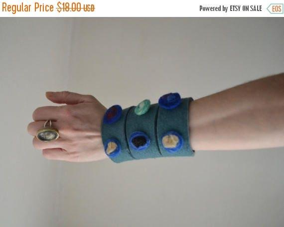 ON SALE Felt Cuff Bracelet - Felt Cuff Bracelet  - Sea Green Cuff - Adjustable