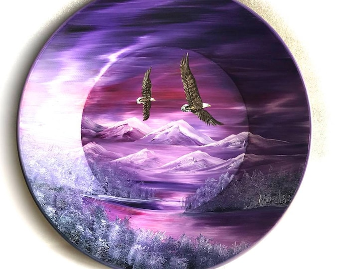 Hand Painted 11 Inch Gold Pans Mountain Lavender and Mauve Northern Lights Eagles