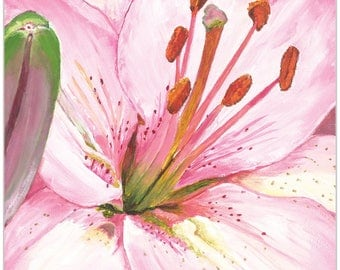 Traditional Wall Art 'Heart of a Pink Lily' by Cathy Pearson - Floral Decor Traditional Lily Artwork on Metal or Plexiglass