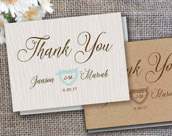 Affordable BEACH Wedding Thank You (folded or flat) Cards Notes Postcard Rustic Script Beach Western Mint Gold Nautical Country Burlap Kraft