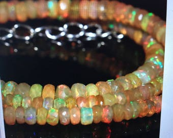Faceted Ethiopian Welo Opal Bead Necklace