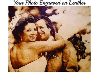 Leather Anniversary Men - Leather Photo Engraved with Any Photo You Wish 4x6 and 5x7