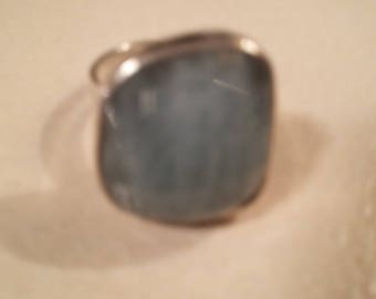 Aquamarine and Sterling Silver adjustable ring