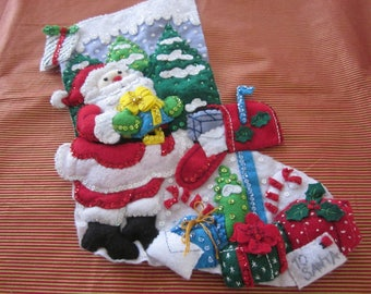 "Bucilla completed 18"" felt stocking ""Santa's Mailbox"""