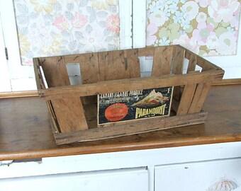 Old Vintage Wooden Fruit Crate, Wooden Trug, Wooden Box