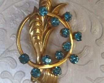 Gold Brooch With Turquoise Rhinestone Accents, 1930's, 1940's, Art Deco, Art Moderne