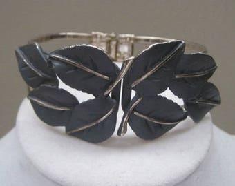 Grey And Silver Leaf Pattern Bracelet, Adjustable, Greenish Grey, 1950's, Mid Century